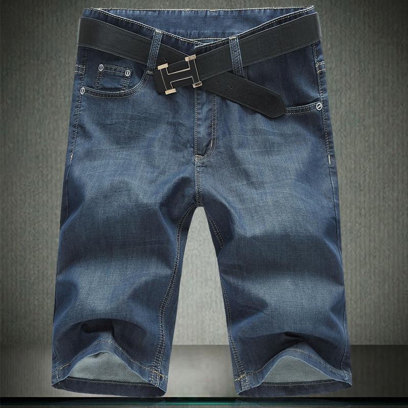2019 Summer Style Casual Black Background Men Knee-length Denim Shorts Ultra Large Size 1361f60