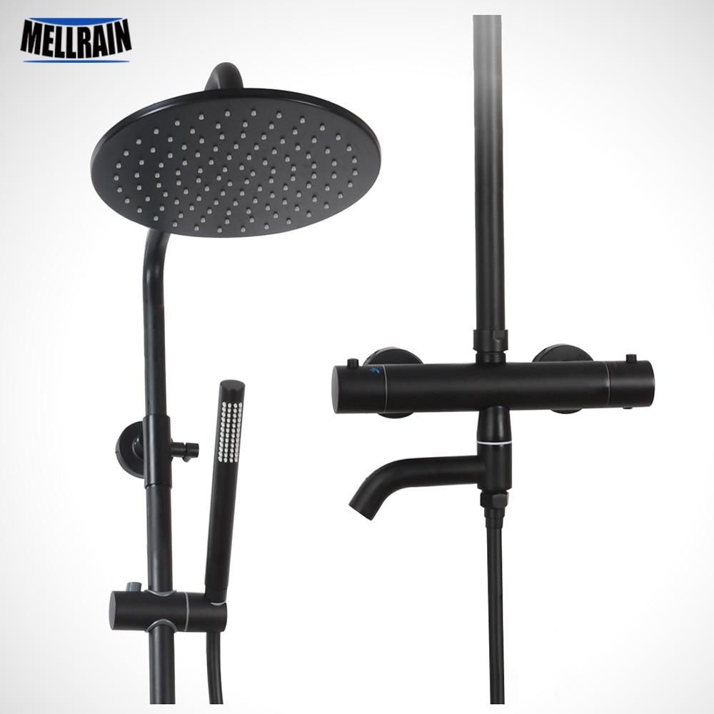 Quality Black Scalding Prevention Thermostatic Shower Safe Lock Bathroom Bath Shower Faucet With Brass Rain Shower Head