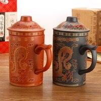 Copo de água dragão padrão acessórios de chá roxo areia drinkware kung fu chá preto/vermelho 400 ml china cerâmica xícara de chá caneca tigela|Terrina de chá| |  -