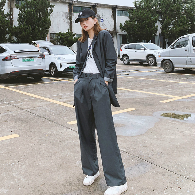 Casual Women's Suits 2019 New Autumn Loose Long Section Ladies Jacket Blazer Fashion Loose Trousers Two-piece Set