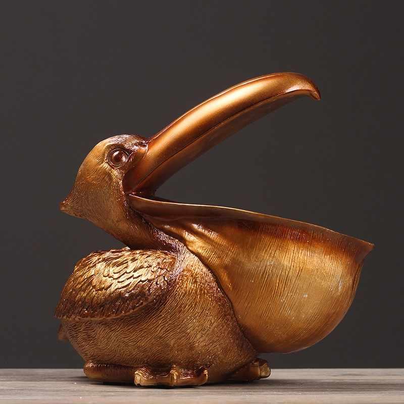 ERMAKOVA توكان مفتاح تخزين تمثال البجع تمثال سلة التخزين الحيوانات الطيور النحت ديكور المنزل سطح المكتب هدية مزخرفة