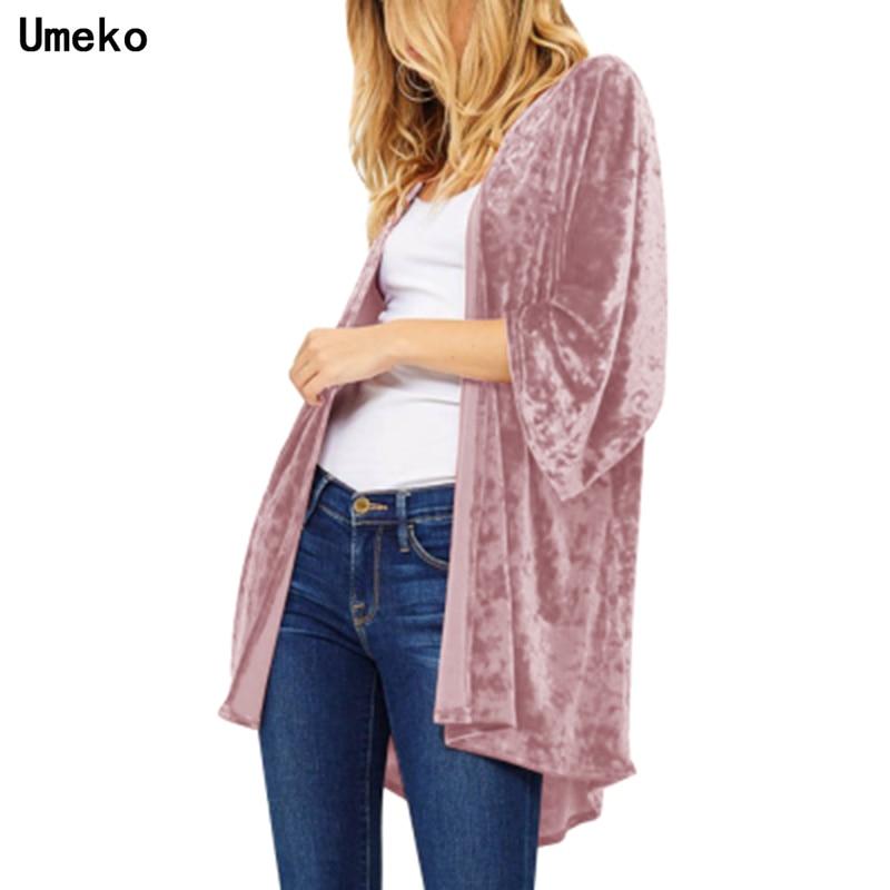 Umeko 2019 Autumn Women Open Front Long Sleeve Velvet Coat Spring Lapel Neck Slim Windbreaker Sexy Party Maxi Jacket Cardigan