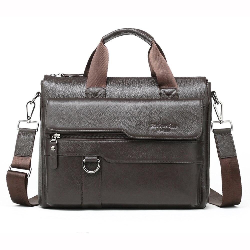 100% Cow Genuine Leather Business Men's Briefcase Male Shoulder Bag Real Leather Men Messenger Bag Tote Computer Bag 13 Inch