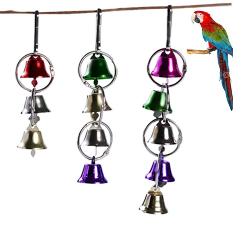 Parrot Bird Metal Ring Bell Toys Colorful Swing Rings Hanging Toys For Parrot Squirrel Parakeet Birds