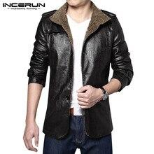 INCERUN, Зимние Модные мужские куртки, пальто из искусственной кожи с отворотом, длинный рукав, уличная одежда, деловые повседневные куртки, теплые мужские ветровки 7