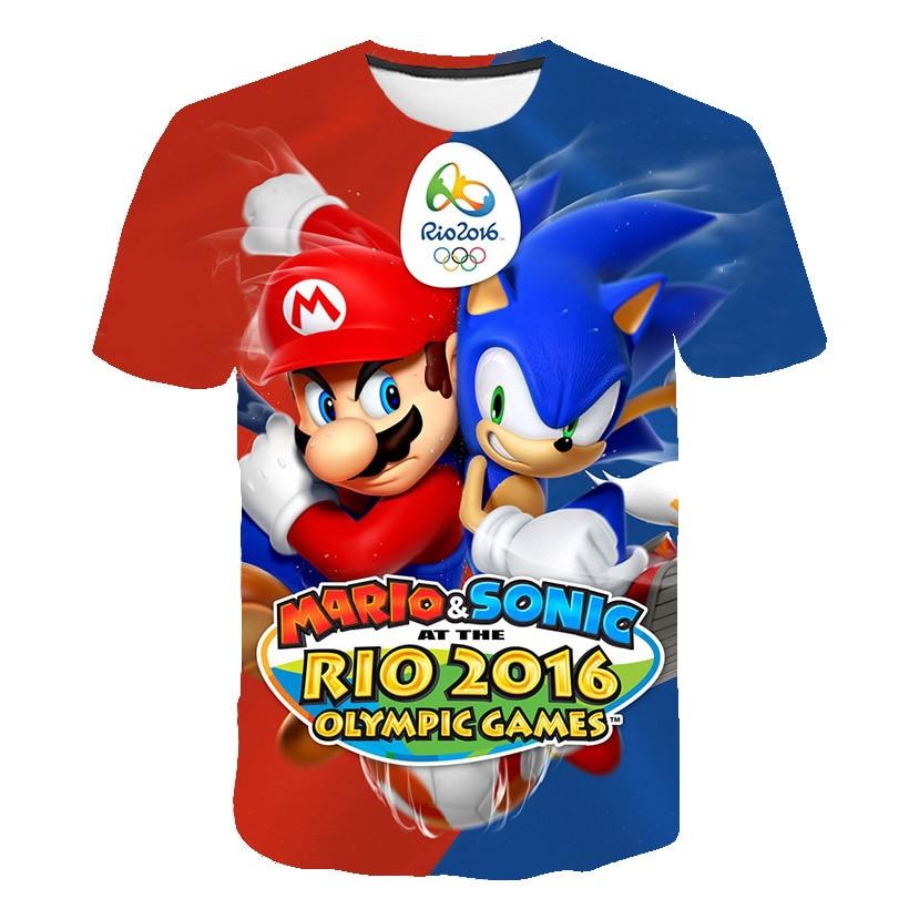 Super Mario Children T-shirt Short Sleeve Kids T-shirts 3D Print Summer Clothing