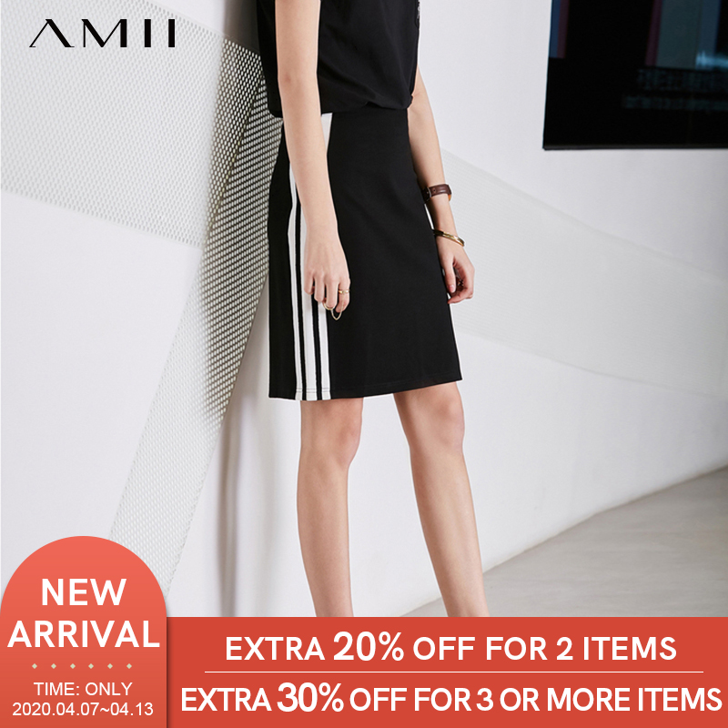 Amii Minimalist Side Stripes Skirt Summer Women High Waist Slim Fit Sprot Female Skirt 11763782