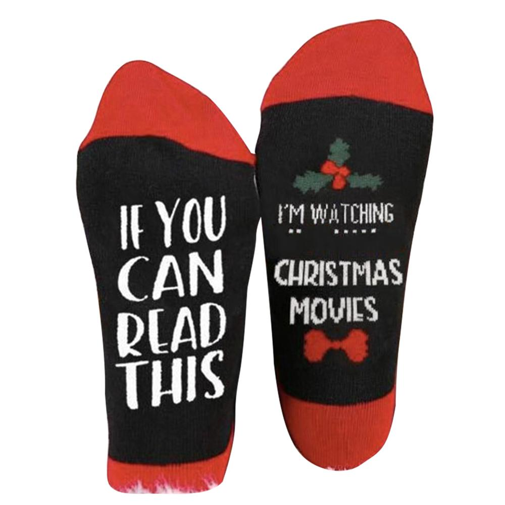 Newly 1Pair Hallmark Movies Soft Socks Christmas Letters Printed Women Winter Warm Gifts m99