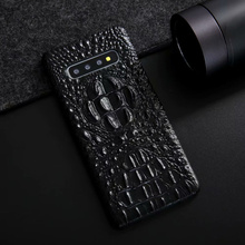 Real Genuine Leather Case for galaxy S10 S10e S10+ Note 10 Plus Ckhb eyk 3D Crocodile Pattern Retro Vintage Hard Slim Cover Case