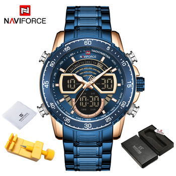 NAVIFORCE Mens Military Sports Waterproof Watches Luxury Analog Quartz Digital Wrist Watch for Men Bright Backlight Gold Watches 10
