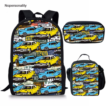 Nopersonlity Cartoon Car Print School Backpack Set for Boys Cool Kids Bagpack Classic Children Kids School Rucksack Mochila image