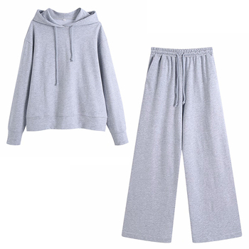 Two Piece Set Casual Tracksuit Women Spring Autumn Women Sets Oversized Hooded Long Sleeve Hoodie Sport Wide Leg Pants Lady Suit 17