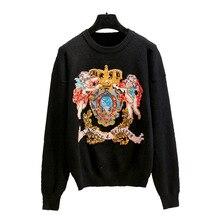 Женский пуловер, модный осенний зимний мужской свитер, универсальный свитер с вышивкой тигра, изысканная технология, женская блузка, джемпер