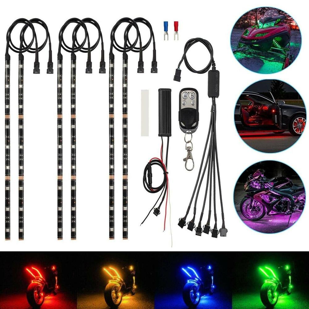 6X Motorcycle Led Lights Wireless Remote 18 color Neon Glow Light Strips Kit LED Car Decorative Light New