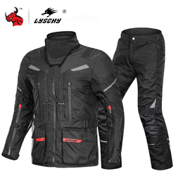 LYSCHY Autumn Winter Motorcycle Jacket Pants Suit Waterproof Cold-proof Motorbike Moto Jacket Riding Clothing CE Protective Gear