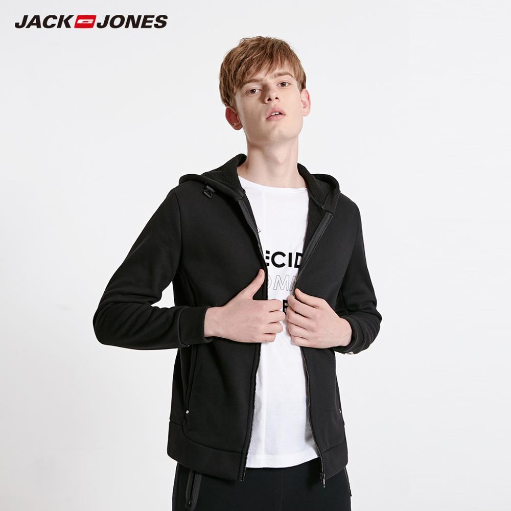 JackJones Men's Cardigan Fleeced Hooded Sweatshirt Jacket Men's Hoodies 2019 Brand New Fashion Menswear 218333524