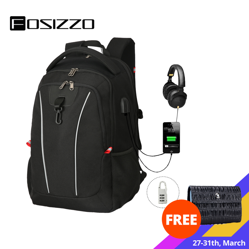 FOSIZZO Travel Laptop Backpack College School Backpack For Men And Women With USB Charging Port Backpack FS4013