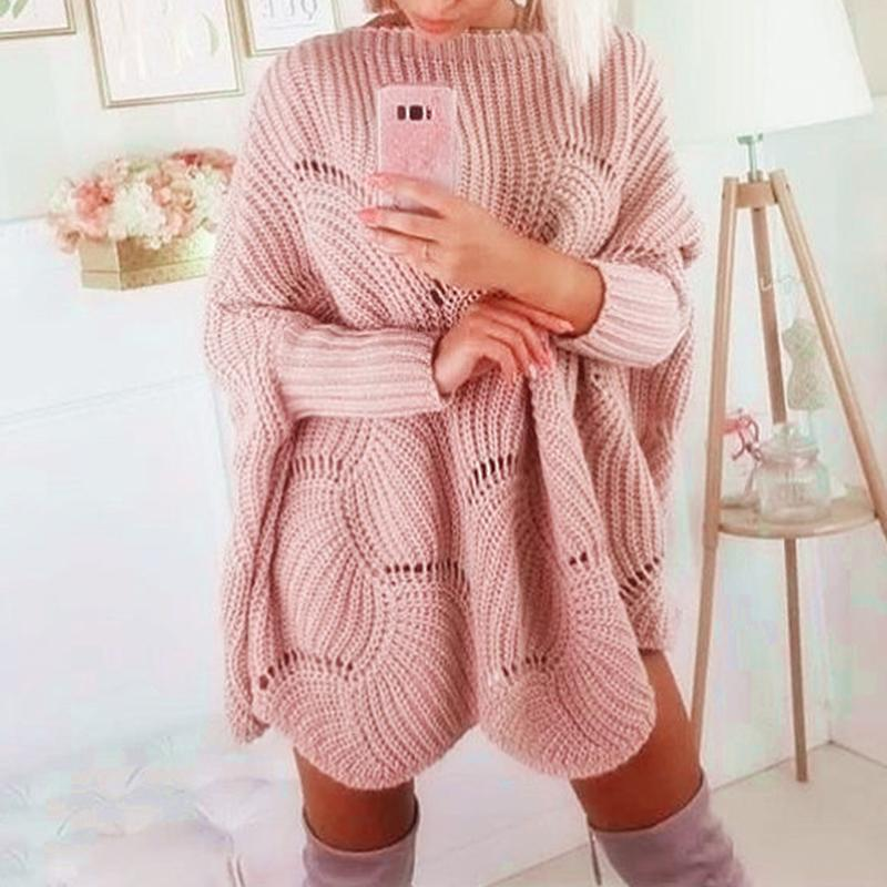 Misswim Elegant O Neck Pullover Knitted Sweater Women Solid Hollow Out Bat Sleeve Sweater Female Loose Party Club Sweater Jumper