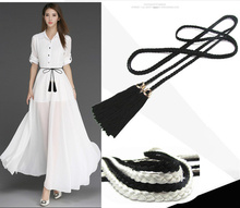 Lace Knotted Thin Wild Tassel Chain Belt for Female 2019 Imitation Pearl Pendant Waist Rope Belts Women Kemer