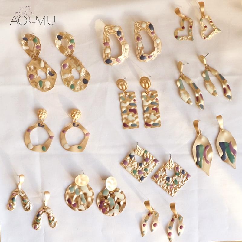 AOMU 2020 New Fashion Geometric Irregular Round Heart Golden Metal Drop Earrings For Women Colorful Enamel Ear Jewelry Gifts