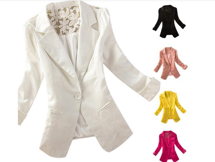 Spring Women White Blazer Long Sleeve Office Jacket Lace Tops Long Sleeve Jacket Ladies Cardigan Outwear Blazer Femme