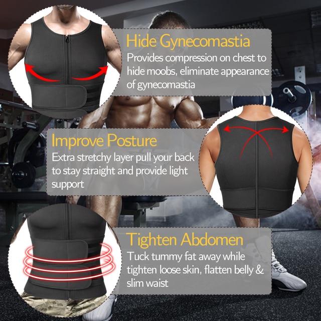 Men Body Shaper Waist Trainer Sauna Suit Sweat Vest Slimming Underwear Weight Loss Shirt Fat Burner Workout Tank Tops Shapewear 3