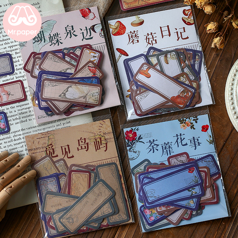 Mr.paper 40Pcs/bag Vintage Retro Style Stickers Scrapbooking Fairy Tales Travelling Write Notes Down Deco Stationery Stickers