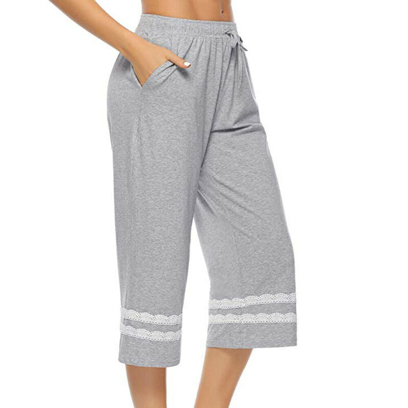 Women's Sleepwear Pajama Elastic Waist Pants Sleep Lounge Bottoms Nightwear Loungewear Homewear Loose Lace Up Ladies Pants