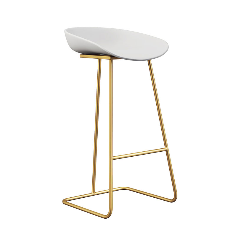 Nordic Bar Stools Gold Wrought Iron Stool European Modern Minimalist Home Backrest High Chair Creative Net Red