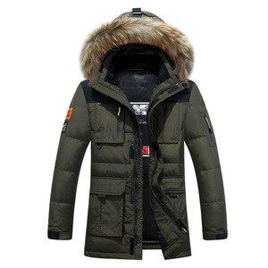 Image 2 -  40 graden Koud Slip Rusland Winter Jas Heren Top Kwaliteit Echt Bontkraag Dikke Warme Witte Eendendons Mannens Winter Jas