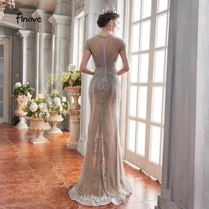 Image 3 - Finove 2020 New Evening Dresses Long Short Sleeves With Luxury Beaded Floor Length Sexy Mermaid Dress Party Gowns For Woman