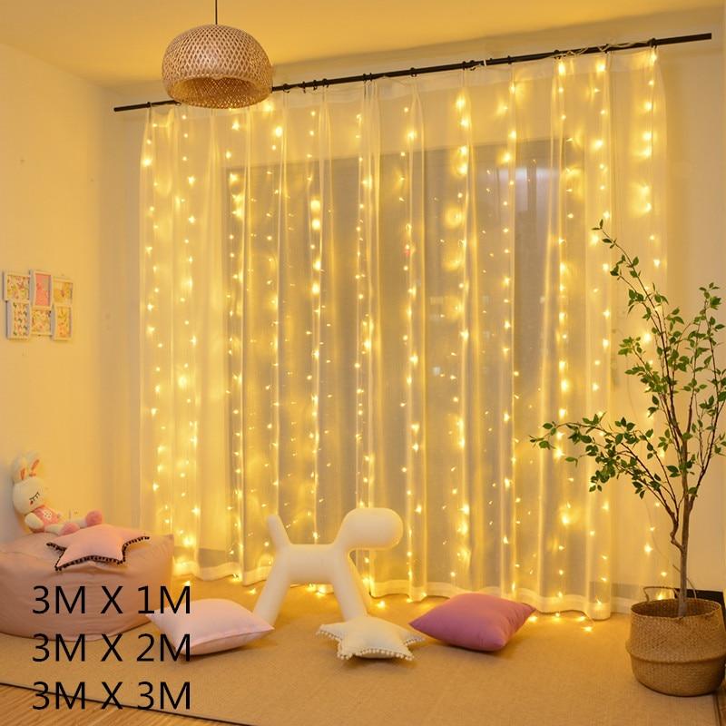 3*3m 300led Led Curtain String Light Led Christmas Garland Party Patio Window Decor Fairy Lights Xmas Wedding Lights USB EU 220V