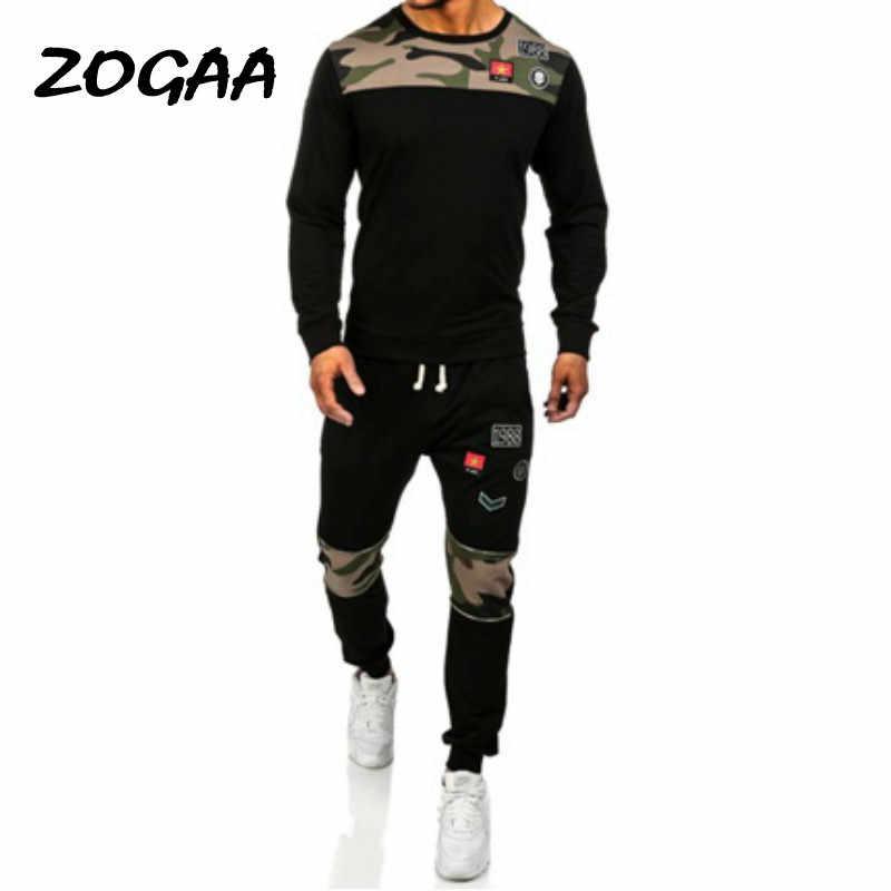 Zogaa 2020 Lente Tweedelige Mannen Trainingspak Mannen Lange Mouw Truien Top + Zweet Broek Mannen Set Causale Joggers sportkleding Plus Size