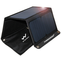 21w Portable Phone Solar Power Bank Panel Charger for Cellphone Outdoor Use