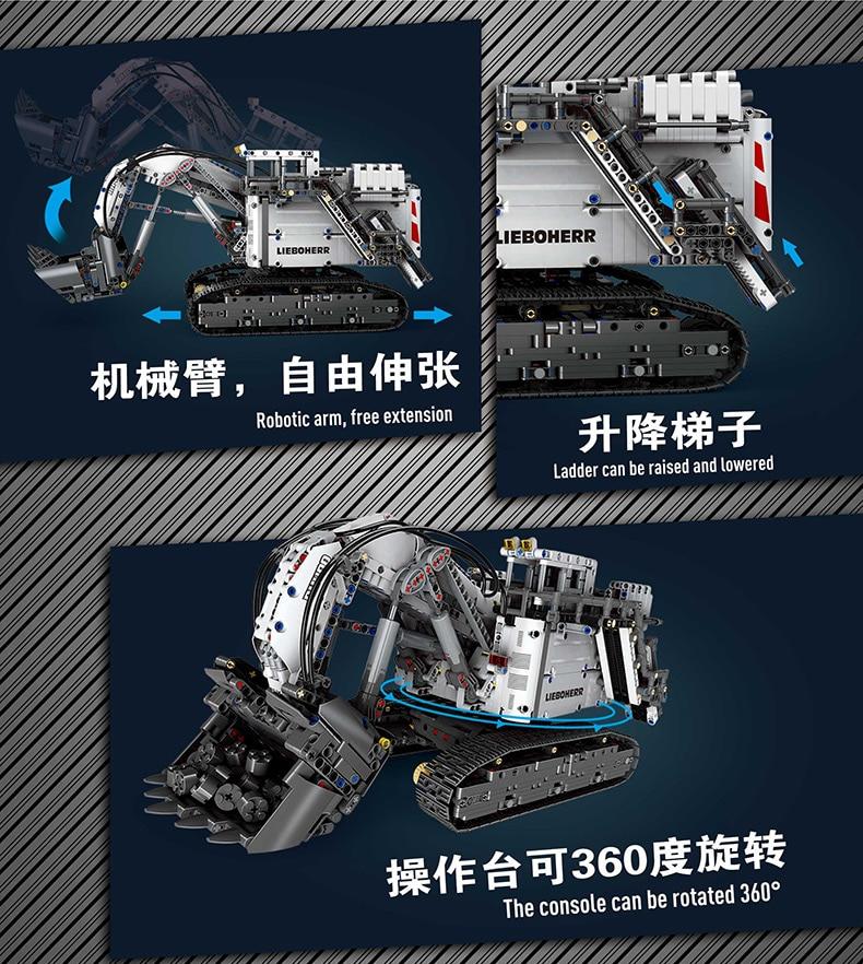 Compatible With Legoed Technic series 42100 Bricks Liebherrs Excavator R9800 Motor Power Car Model Kit Building Blocks TOYS Gift 1