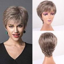 Amir блонд темно-коричневый синтетический парик естественный прямой короткий боб парик с челкой для американской Африки женский стиль