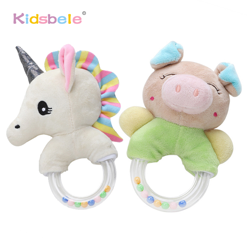 Baby Rattles Toys Cute Plush Soft Hand Bells Unicorn Bed Toys Baby For Newborn 0 12 24 Months Educational Infant Toys Bell Rings