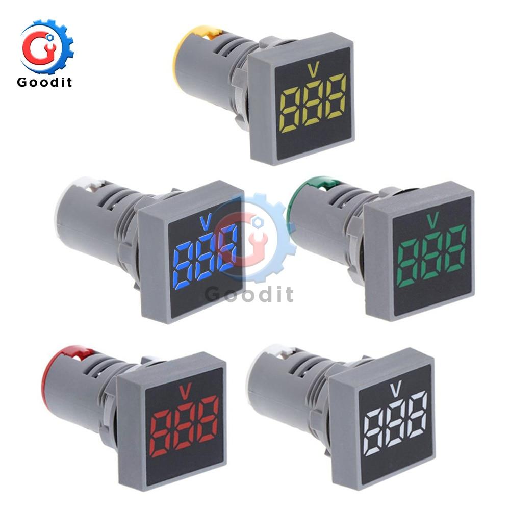 Square LED Digital Display Voltmeter Signal Lights Volt Voltage Gauge Tester Meter Indicator Light 22MM AC 12-500V 110V 220V