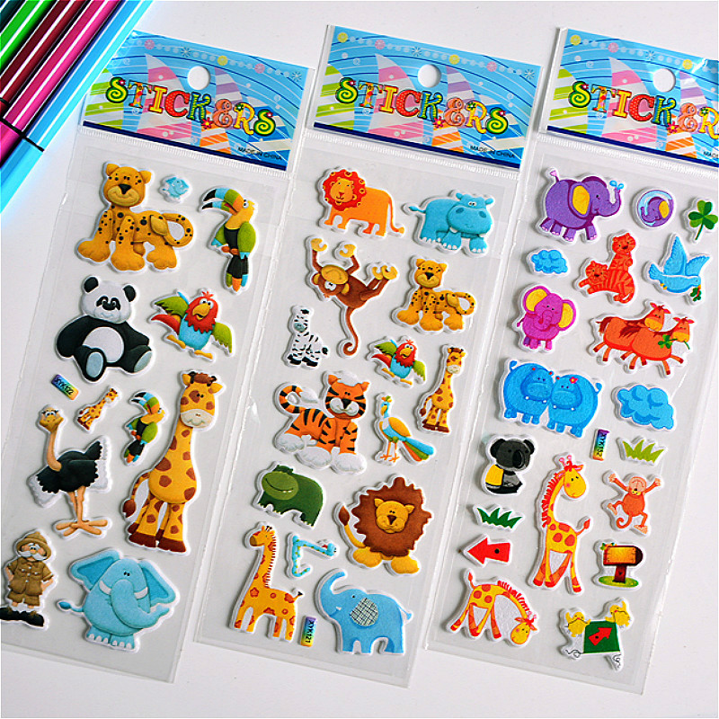 3D Puffy Bubble Stickers Animal Cartoon Princess Cat Waterpoof DIY Baby Toys for Children Kids Boy Girl(China)
