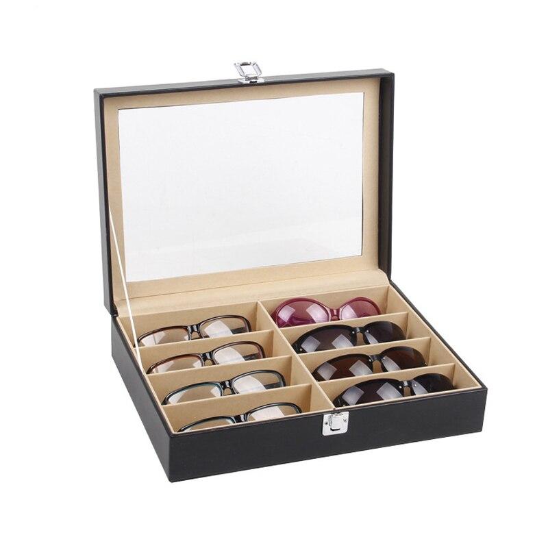 Высокое качество кожа 8 сетки коробка для хранения очков Солнцезащитные очки Чехол для мужчин и женщин очки Дисплей Органайзер шкатулка с к