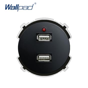 Wallpad 2 USB ładowarka gniazdo ścienne funkcja klucz tylko elektryczne ścienne gniazdo zasilające gniazdka elektryczne 5V 2400MA tanie i dobre opinie 2 USB Socket White Black Function Keys 66 5*66 5mm Fire Retardant PC 220V CE CCC