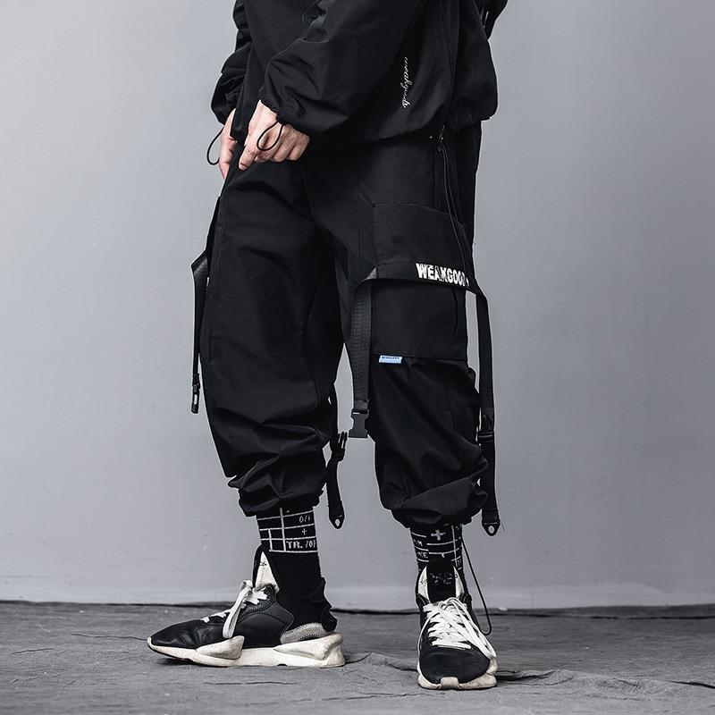 2020 Fashion Hip Hop Black Cargo Pants Streetwear Harajuku Pant Joggers Elastic Waist Tactical Harem Trousers Male US Size DG534