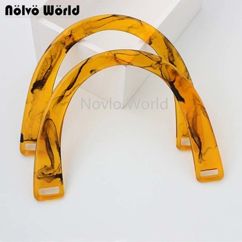 2-10-20 pieces 16x12cm Acrylic Handle Women Leather Purse handbag Resin Fashion Semi-circle Bags DIY Accessories - sale item Bag Parts & Accessories