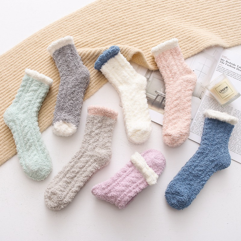 Autumn Winter Japanese Coral Velvet Fuzzy Socks Women Warm Thickened Kawaii Pink Socks For Ladies Pure Color 400