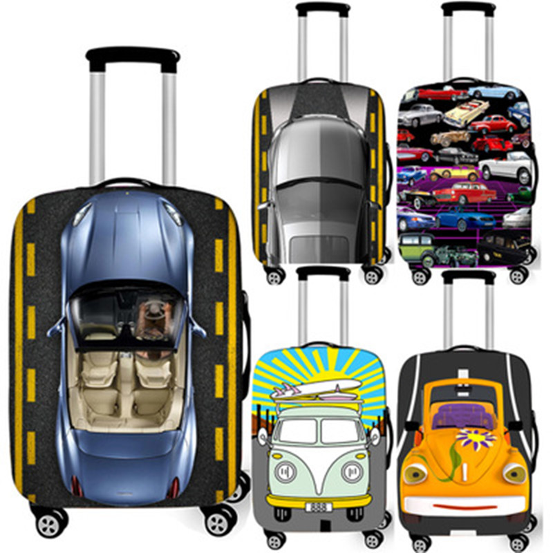 Car Pattern Elasticity Luggage Cover Thicken Travel Luggage Protective Covers 18-32 Inch Trolley Case Cover Travel Accessories