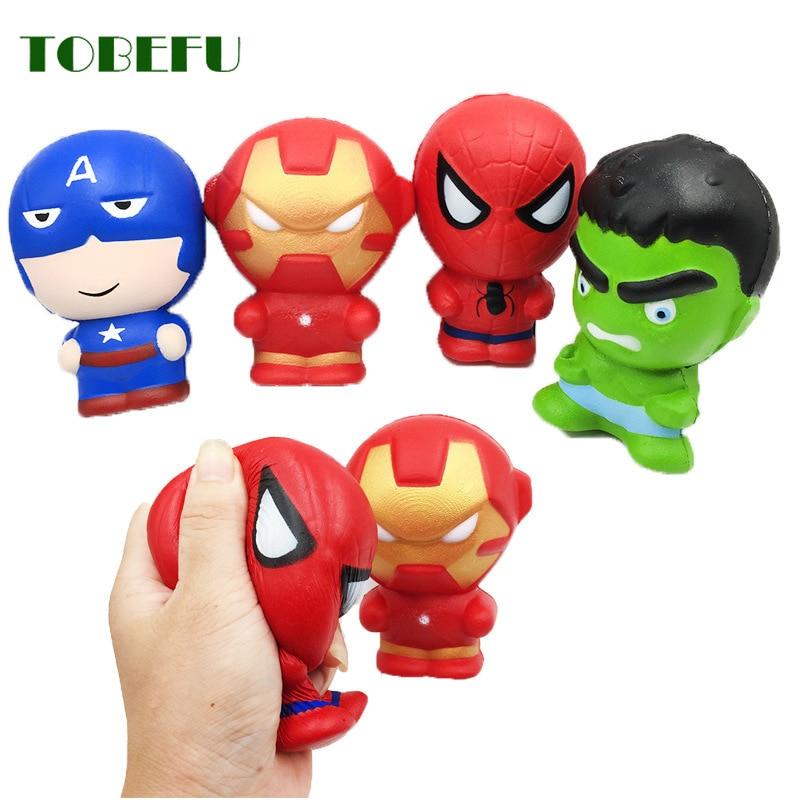 TOBEFU Spiderman Antistress Squishy Super Hero Squishe Gadget Novelty & Gag Toys Stress Relief Practical Jokes Squishy Gift