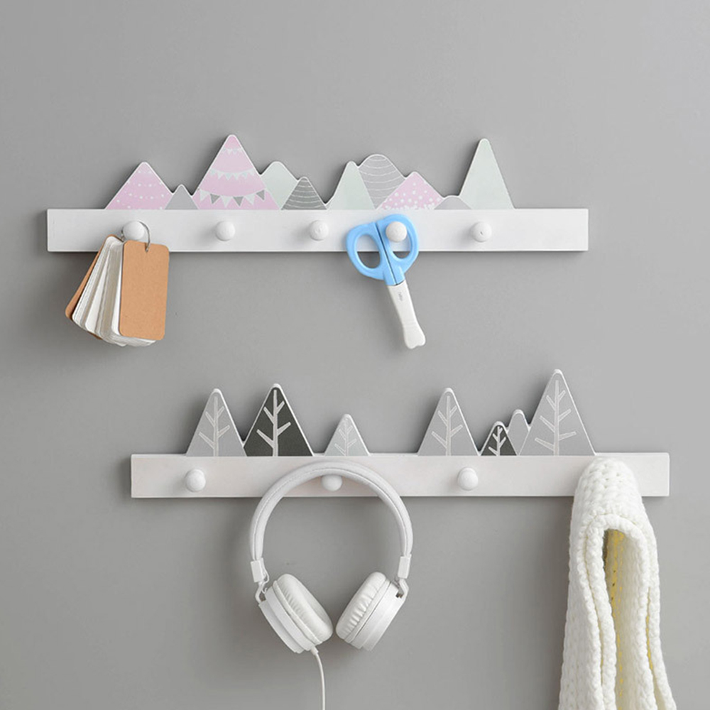 Nordic Household Wood Shelves Coat Rack Wall Hanging Shelf Multiple Choice Kids Baby Girl Room Decor Display Stand Holder