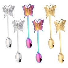 6 шт кофейные ложки бабочки из нержавеющей стали