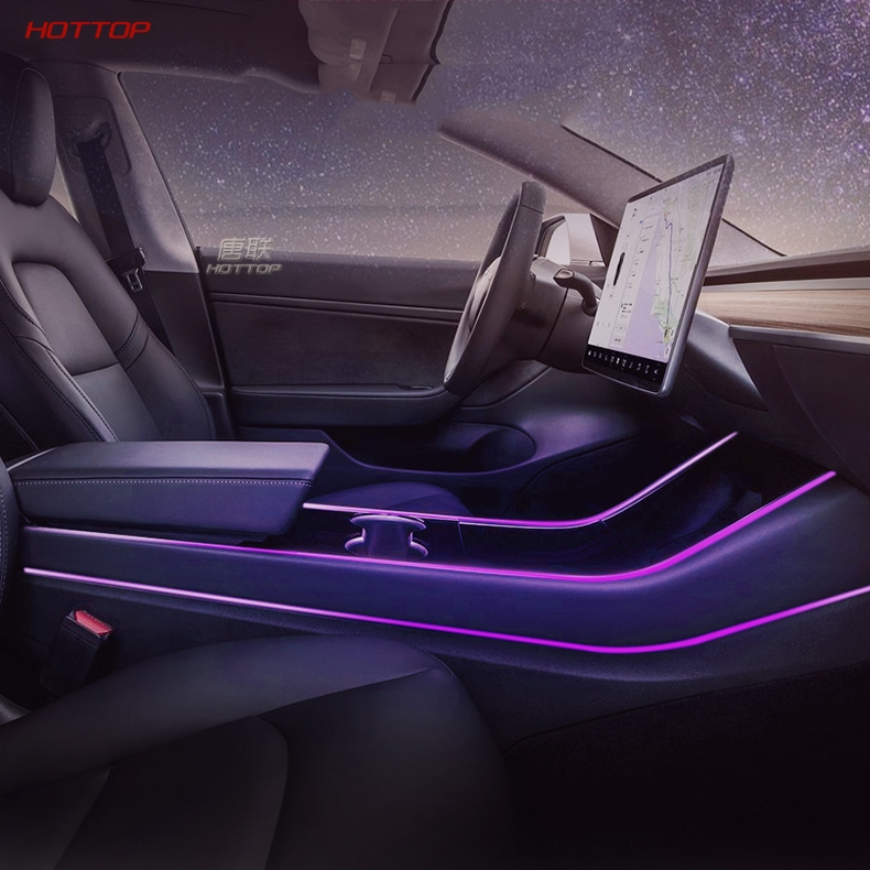 Modification Car Interior Atmosphere Seven Color LED Light Modification In The Control Accessories For Tesla Model 3