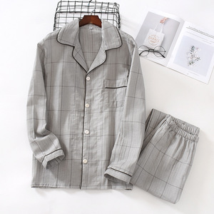 Image 4 - Fresh plaid 100% gauze cotton lovers pajama sets women and men  Autumn long sleeve casual sleepwear women pyjamas